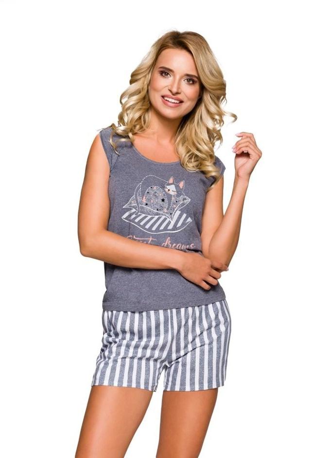 Dámské pyžamo Eva šedé s kočkou - S