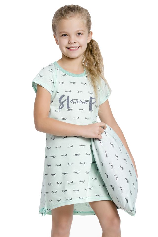 Dívčí noční košilka Lilie tyrkysová - 140