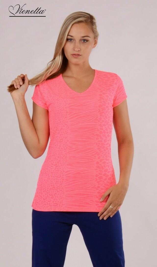 Dámské pyžamo s krátkým rukávem Karolína - růžová/modrá XL