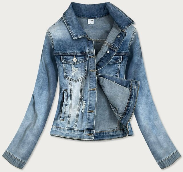 Světle modrá krátká dámská džínová bunda se zirkony (GD6657-K) - S (36)