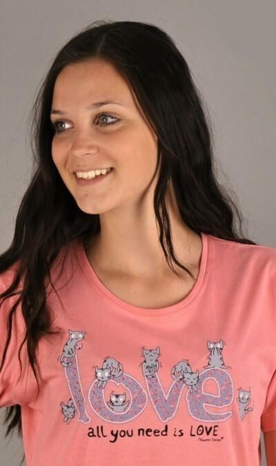 Dámská noční košile s krátkým rukávem Kočky - tmavě modrá S