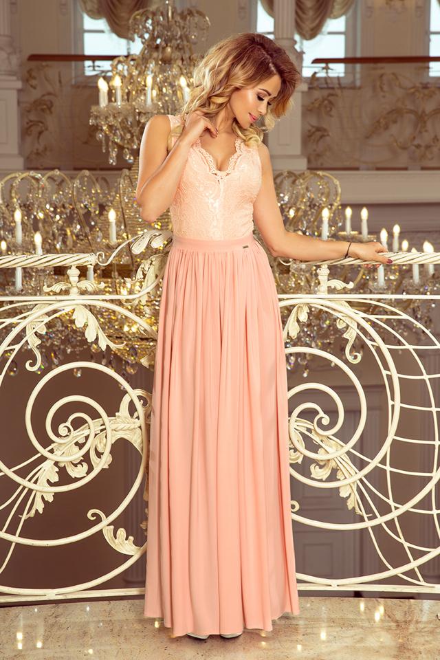 fe86aadcf74a LEA - Dlouhé dámské šaty v pudrově růžové barvě bez rukávů a s krajkovým  výstřihem 211