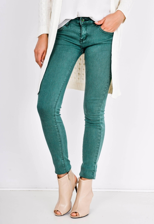 Dámské bokové kalhoty s pruhovanou strukturou a s opaskem - XXS - Cihlová