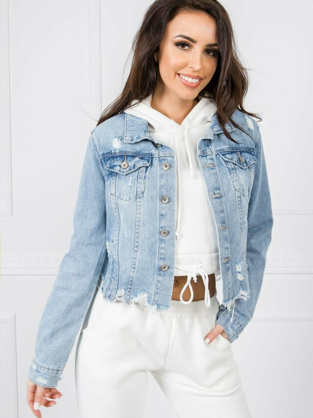 Zoufalá modrá džínová krátká bunda - XL