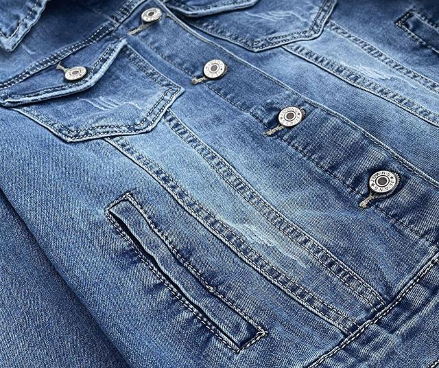 Světle modrá krátká dámská džínová bunda (X-758) - S (36) - Modrá