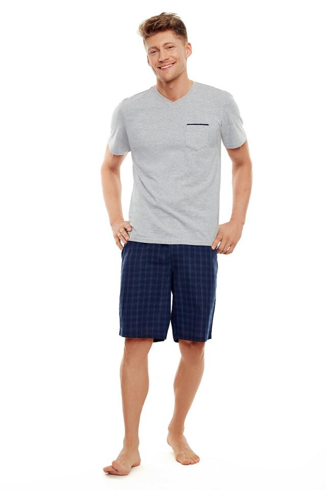 Pánské pyžamo Henderson 35712 Trek kr/r - XXL - šedá-tm.modrá