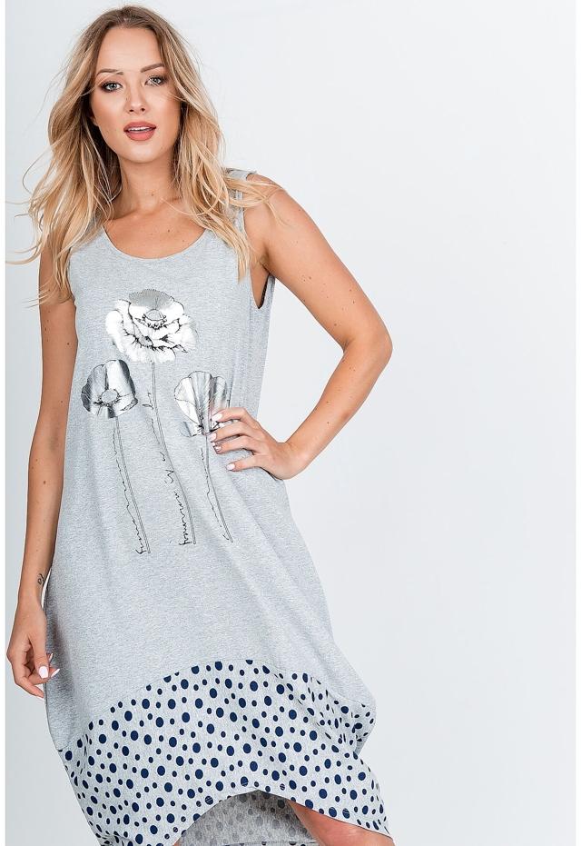 Šedé dámské maxi šaty se stříbrnými květy a s puntíkovaným spodním okrajem - univerzální - Šedá
