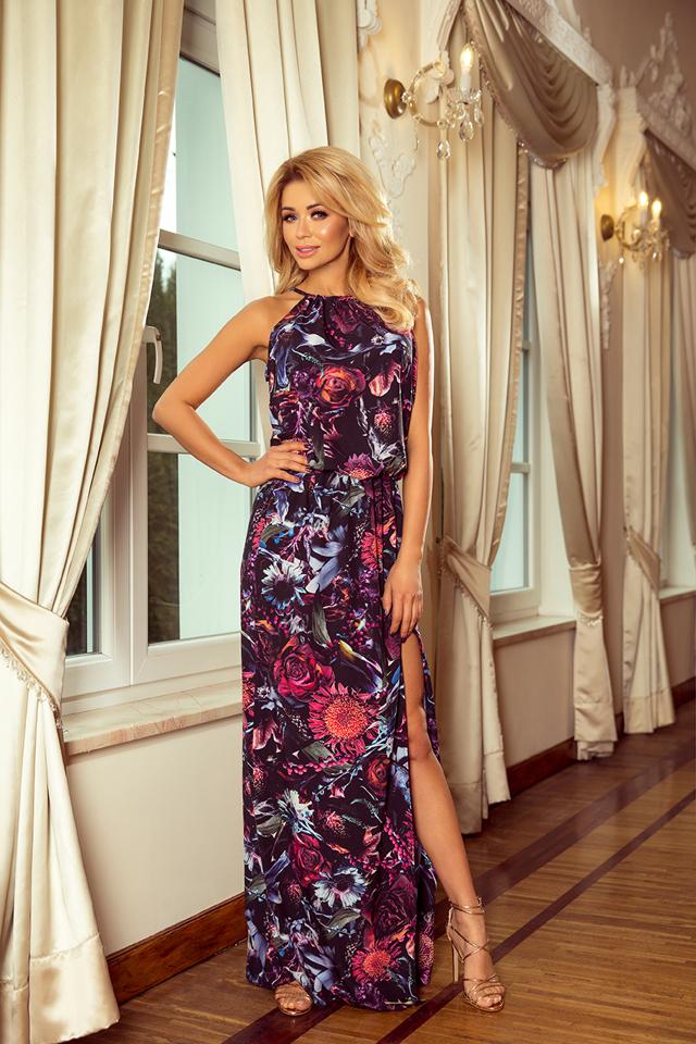 Dámské maxi šaty se vzorem fialových květů aa767eaab78