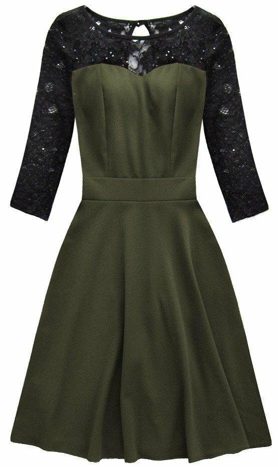 Dámské šaty s krajkou 88104 - Cherry Moda - S - khaki-černá