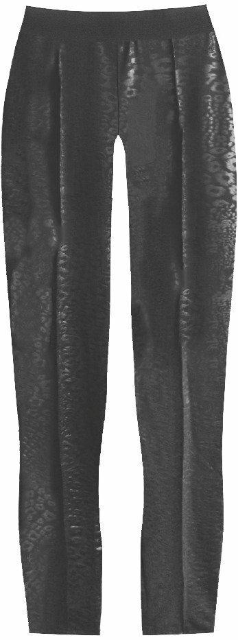 Černé lesklé legíny s panteřím vzorem (315ART) - XL (42) - černá