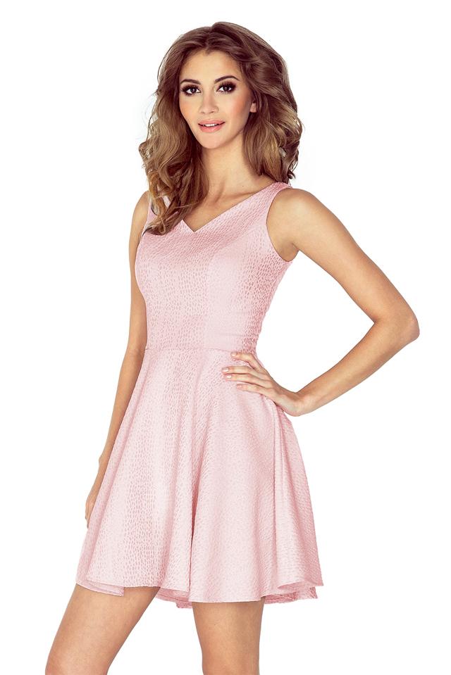 67ef9ff68f94 Růžové kolové šaty se srdcovitým výstřihem MM 014-5 - M