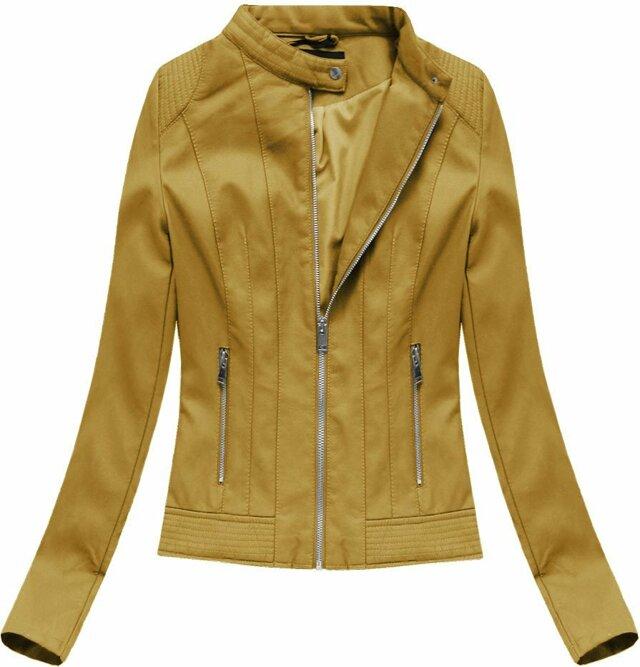 Hořčicová dámská bunda z ekokůže (5373) - L (40) - žlutá