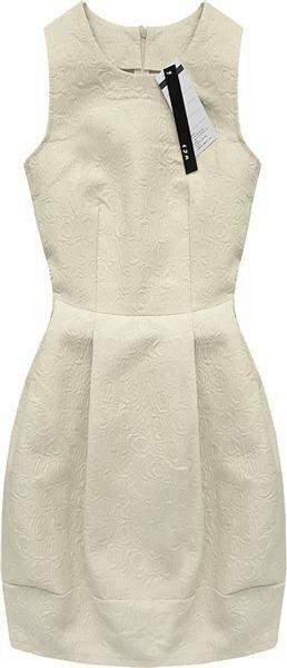 Béžové šaty s vytlačovaným vzorem (3121) - S (36) - béžová