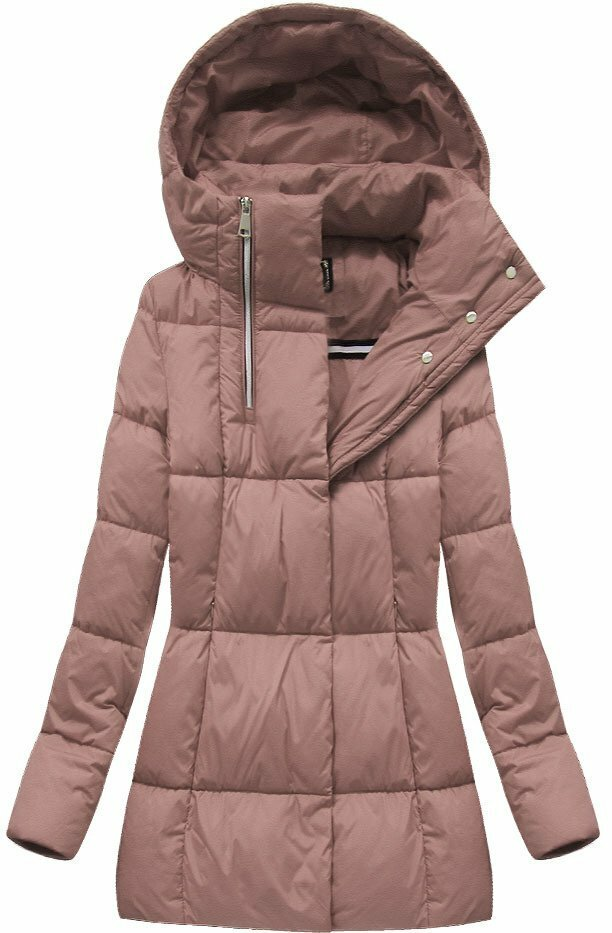 Růžová dámská zimní bunda krátká (7750BIG) - 46 - růžová