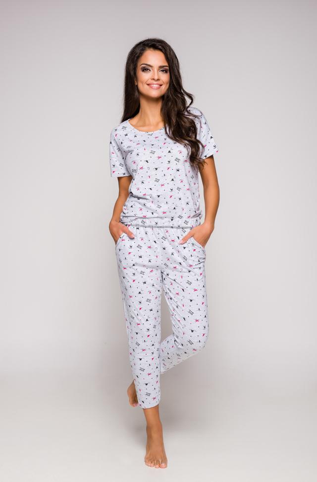 Dámské pyžamo 2277 KSARA KR S-XL - šedá-červená - L