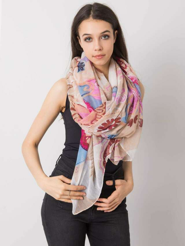 Dámský béžový a růžový šátek s barevnými potisky - jedna velikost