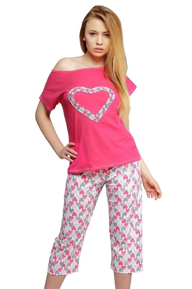 Dámské bavlněné pyžamo Srdce růžové - S