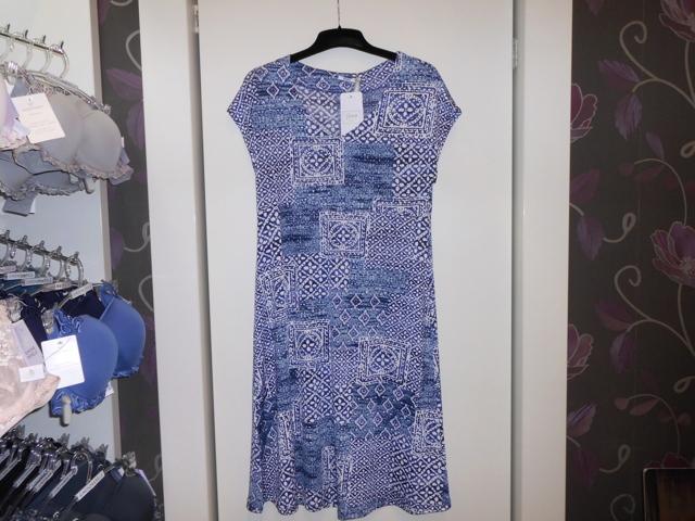 Dámské šaty 3248 -Vamp - M - modrá-vzor
