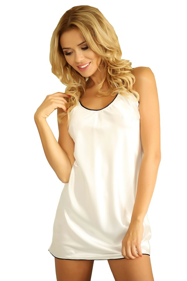 Saténová noční košilka Malaga bílá - L