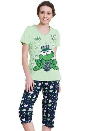 Bavlněné pyžamo Žabka capri - L
