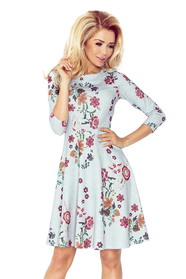 Květované rozšířené šaty s 3/4 rukávy 49-19 - S