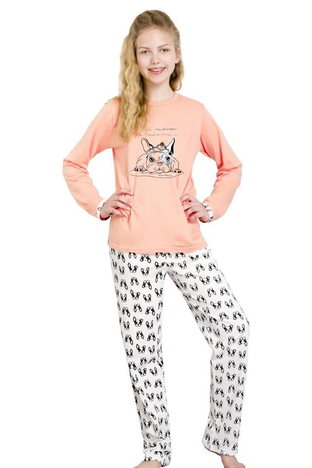 Dívčí pyžamo Míša lososové