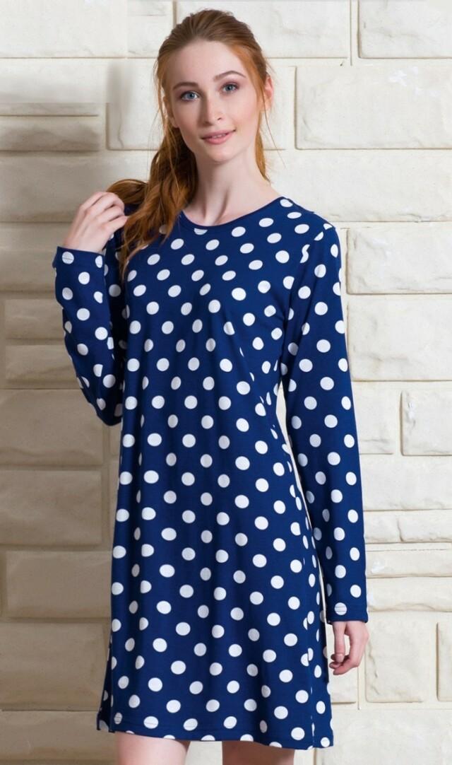 Dámská noční košile s dlouhým rukávem Puntíky - modrá S