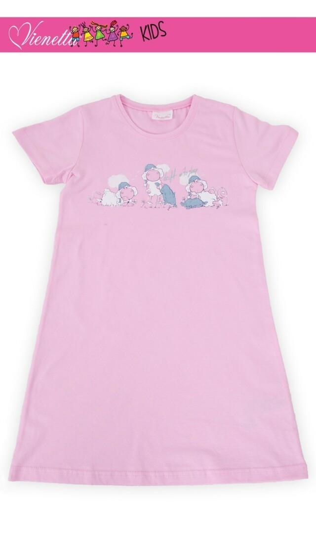Dětská noční košile s krátkým rukávem Malé ovce - růžová 11 - 12