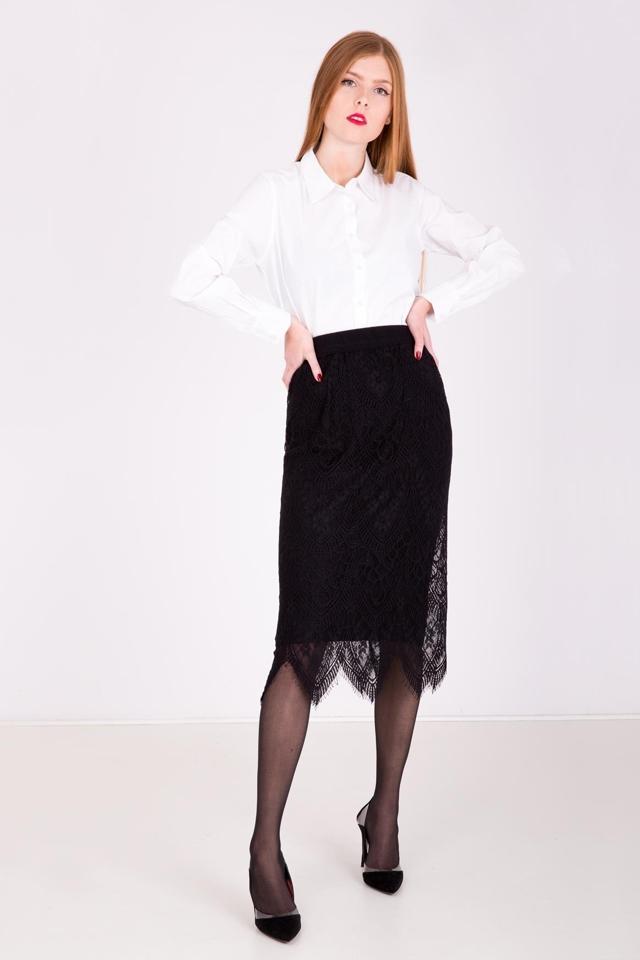 159c6862594c Dámská midi sukně s krajkou - univerzální - Černá
