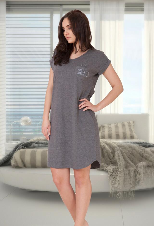 Noční košile M-Max Berta 640 kr/r S-2XL - S - tmavě šedá