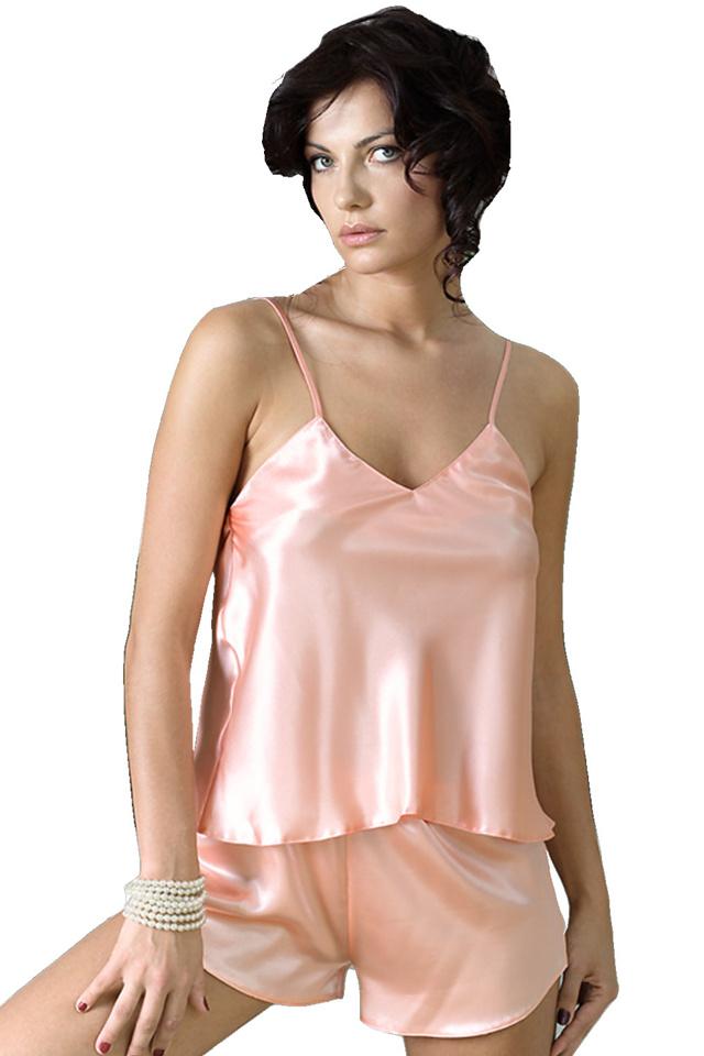Dámské saténové pyžamo Karen světle růžové - L