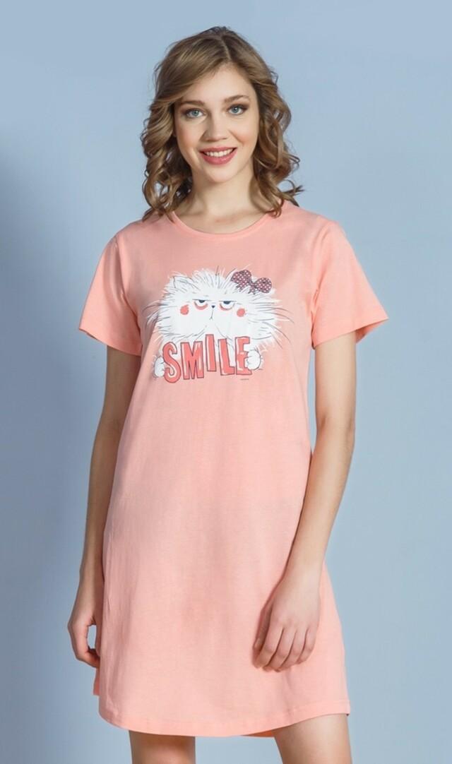 Dámská noční košile s krátkým rukávem Kočka Smile - šedá L