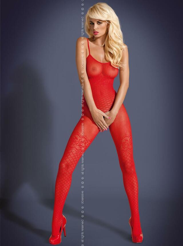 Body Bodystocking F202 - Obsessive - L/XL - červená