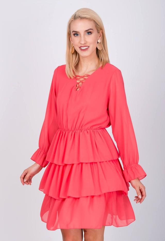 Vzdušné dámské šaty se šňěrováním a volánky - univerzální - Neonově korálová
