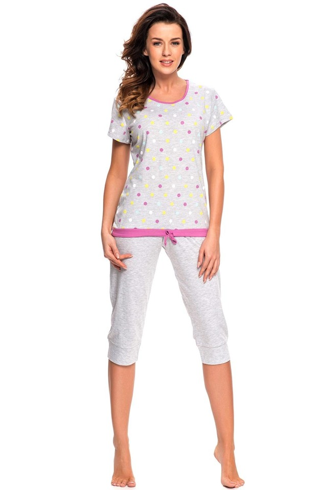 Dámské pyžamo Dn-nightwear PM.7010 - M - šedá-žíhaná