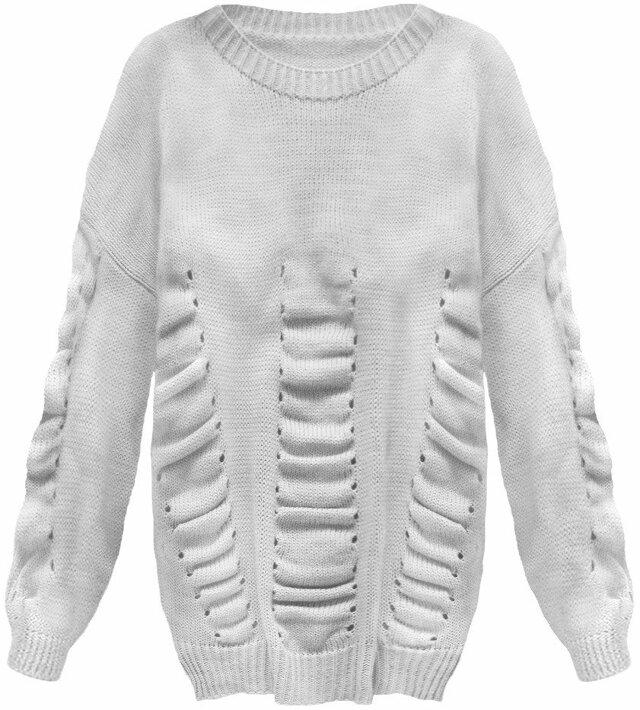 Světle šedý dámský svetr s nabíráním (182ART) - ONE SIZE - šedá