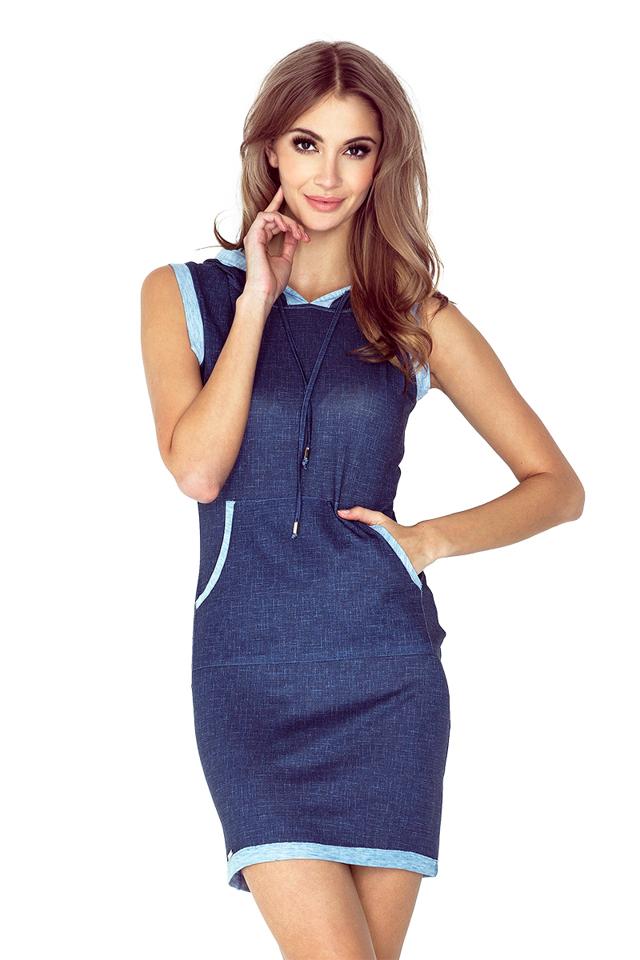Tmavě modré šaty s kapucí a klokankou, krátké MM 009-3 - S