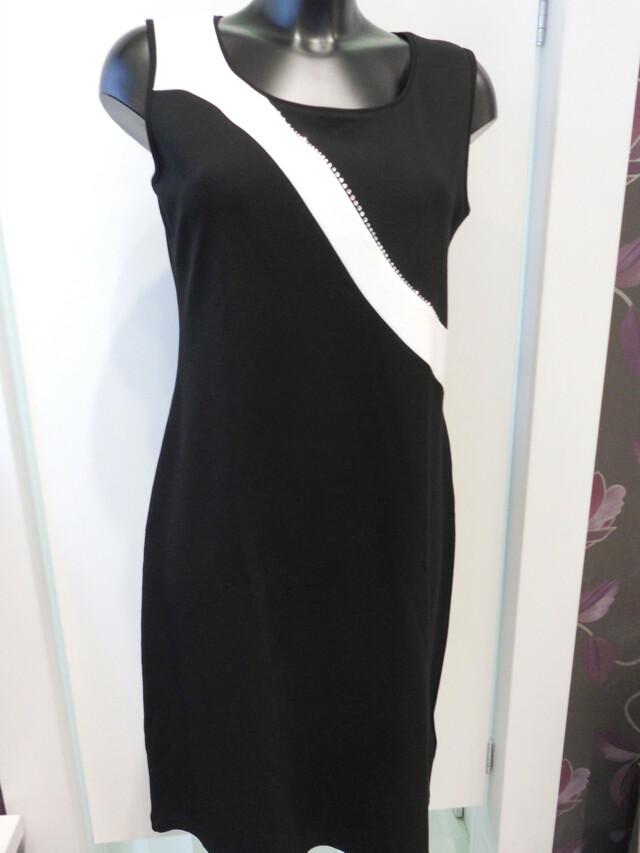 Šaty Elvi SW - Favab - S - černá s bílou