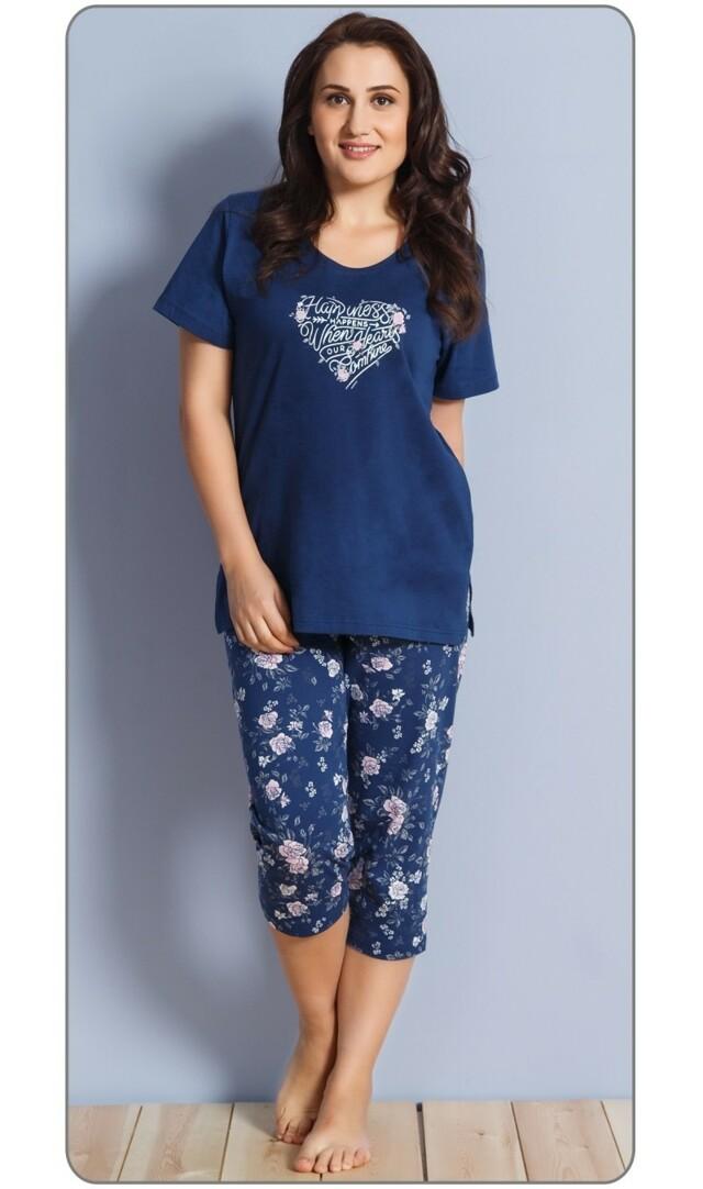 Dámské pyžamo kapri Sára - tmavě modrá 1XL