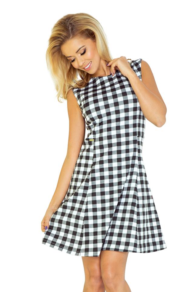 Černobílé trapézové šaty 137-4 - S