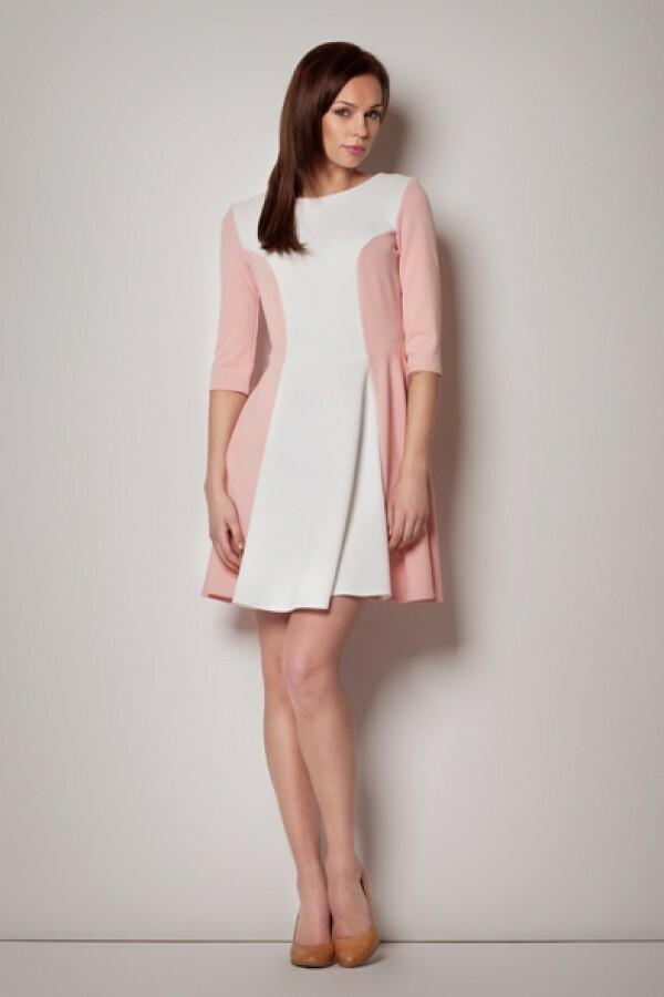 Dámské šaty s dlouhým rukávem M174 - Figl - 40 - bílo-růžová