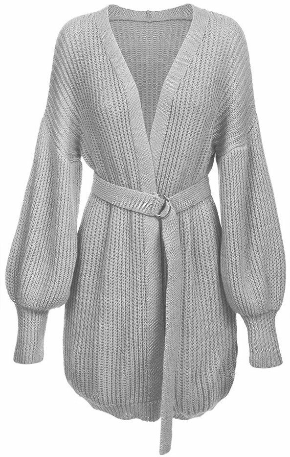 Světle šedý dámský svetr s balonovými rukávy (123ART) - ONE SIZE - šedá