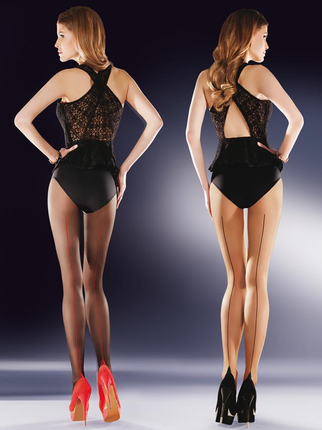 Punčochové kalhoty Bella 434 - Gabriella - 3 - černo-červená