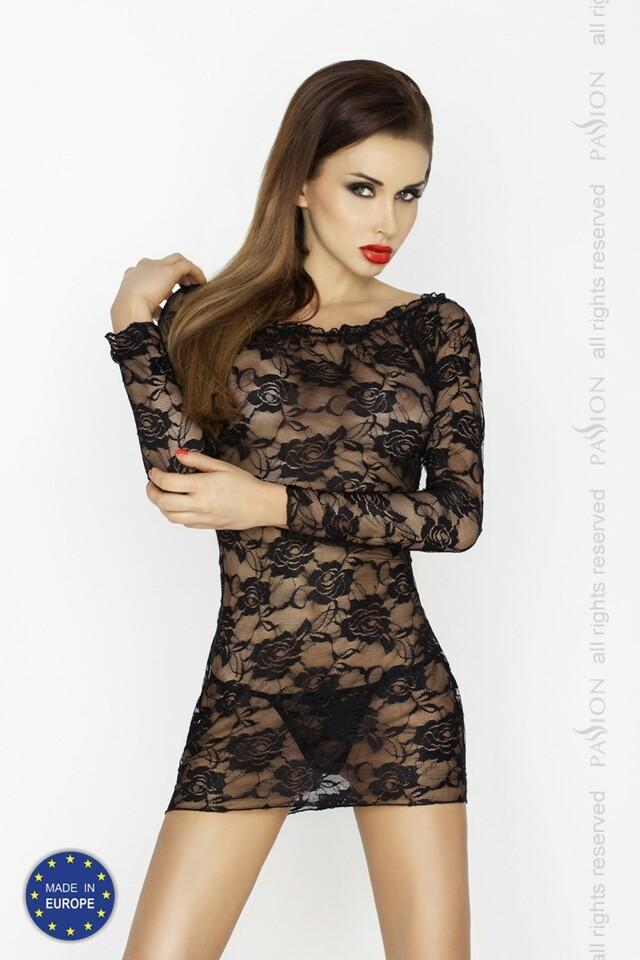 Erotická košilka Yolanda chemise black - L/XL - černá