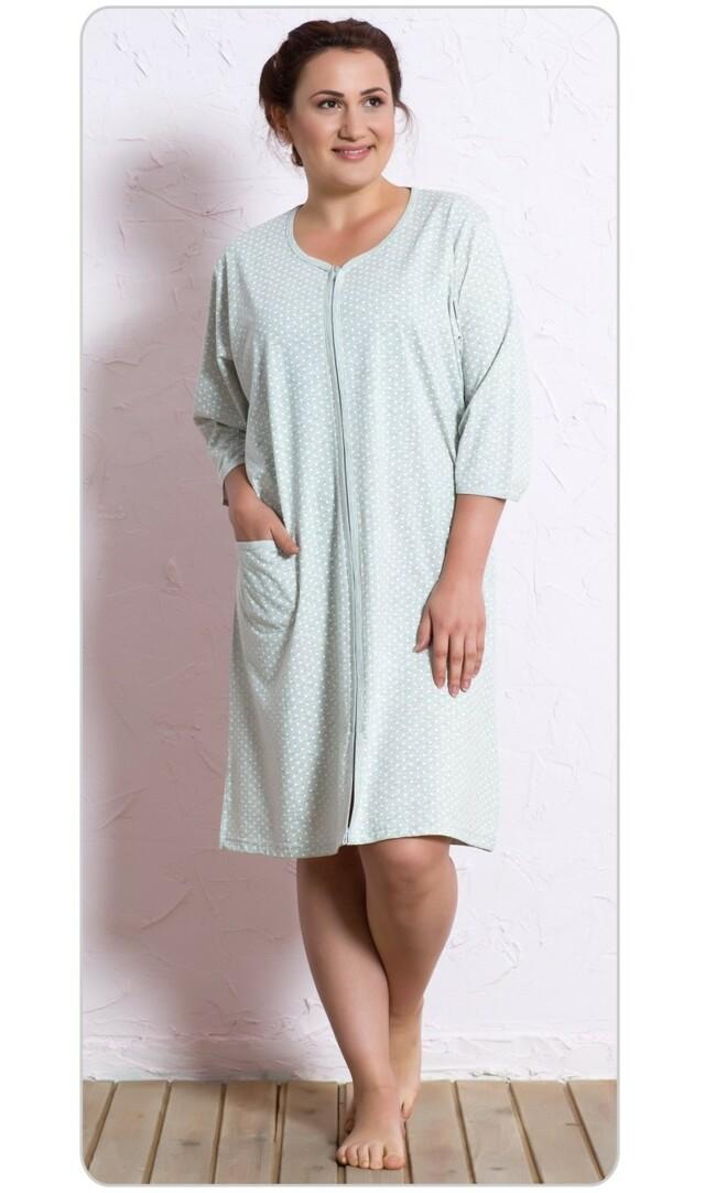Dámské domácí šaty s tříčtvrtečním rukávem Šárka - šedá 1XL