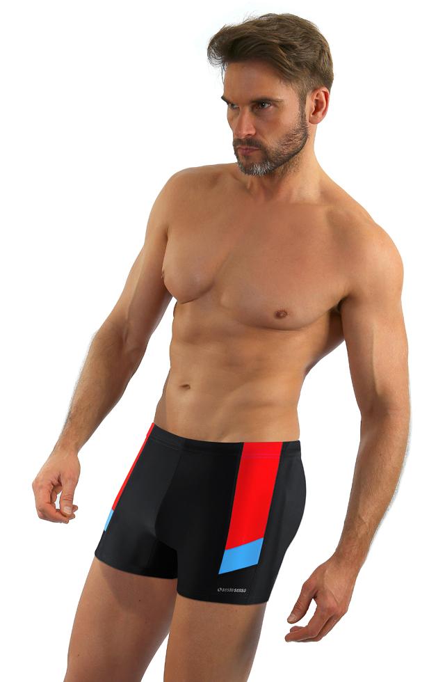 Pánské plavky boxerky Sesto Senso 381 M-2XL - M - černá
