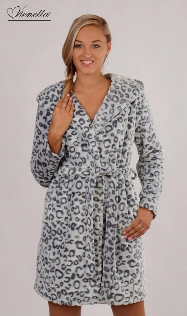 Dámský župan krátký s kapucí Leopard Grey - šedá/bílá M