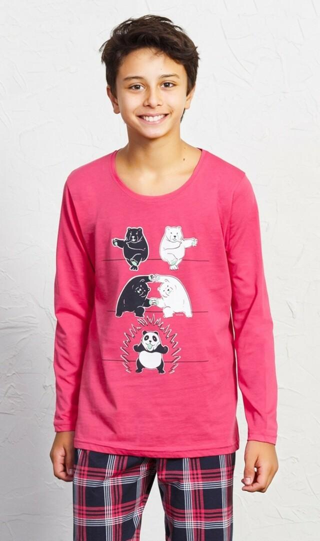 Dětské pyžamo dlouhé Panda - petrolejová 15 - 16