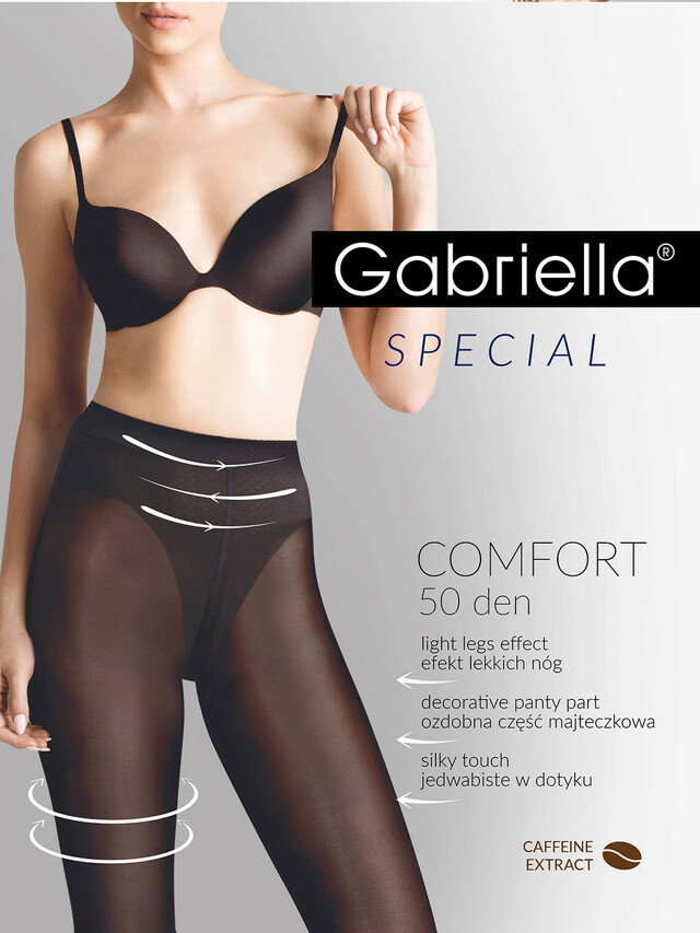 Punčochové kalhoty Gabriella Comfort 50 den 400 - 2-S - černá