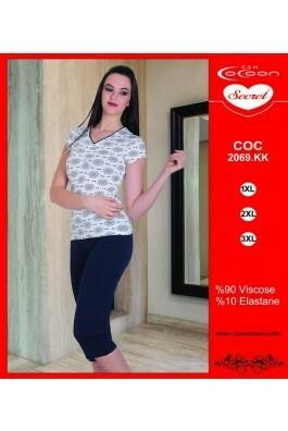 Dámské pyžamo 2069 KK Cocoon Secret - XXL - bílá s květinovým vzorem/ tmavě modrá
